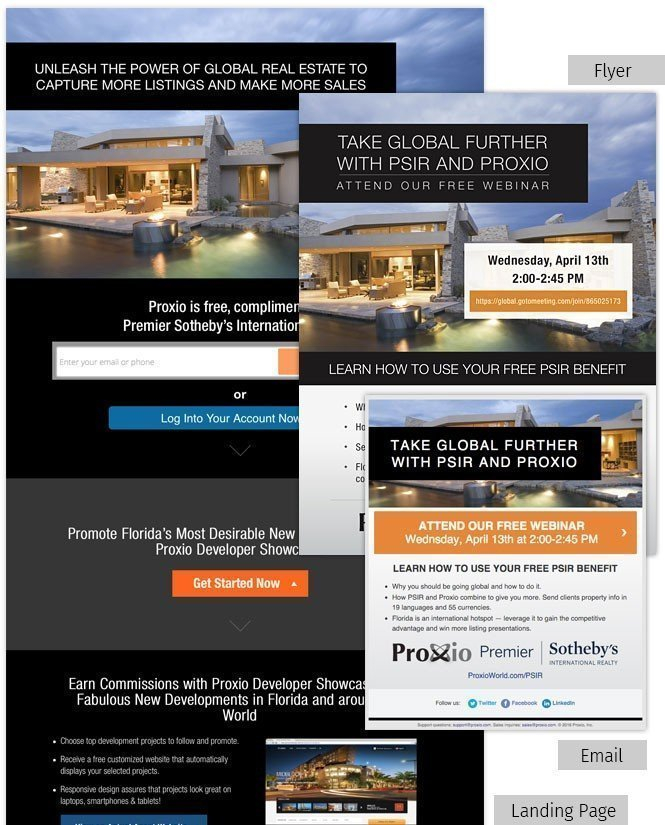 Email, Flyer and Landing Page for Proxio and Premier Sotheby's International Realty